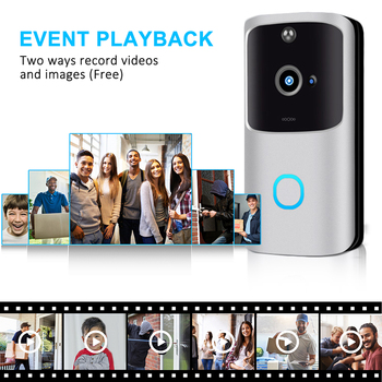 Timbre de vídeo con Wifi de 1080P para Alexa, Google Home, IP54, timbre de puerta inalámbrico de vídeo para exteriores, cámara de intercomunicación WiFi
