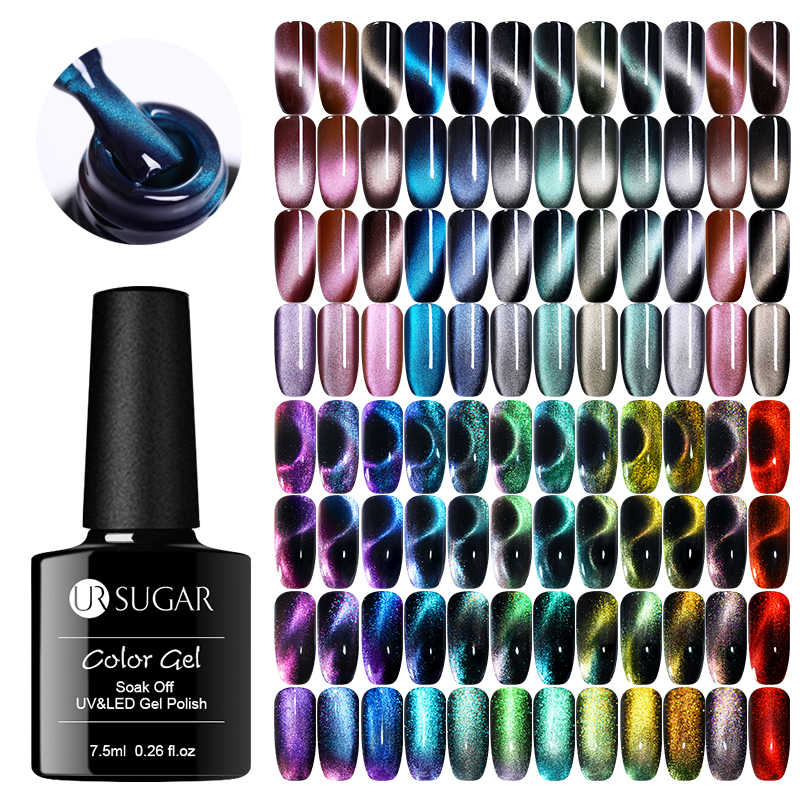 UR Gula 9D Chameleon Cat Eye Nail Gel Polish Magnetic Uv Gel Varnish Warna Emas Rendam Off UV LED Kuku seni Gel Varnish