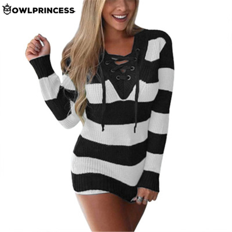 Daily Suit OWLPRINCESS Stripe Winter Women Sweater  V Neck Lace Up Warm Pink Pullover Sweater Femme Fashion Knitwear XS-XXL