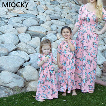 2019 Autumn Family Matching Dress Winter Clothes Half Sleeve Floral Long Dress Mom and Daughter Dress Mommy and me clothes E0252 mommy and me denim long sleeves matching dress