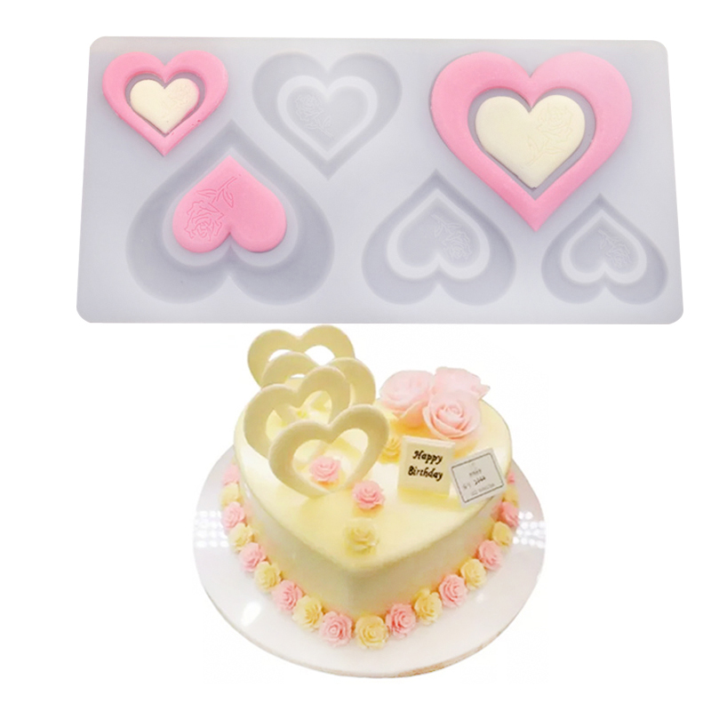 Romantic Heart Rose Silicone Chocolate Mould Cake Decorating Tools Cupcake Cookies Silicone Mold Muffin Pan Baking Gift