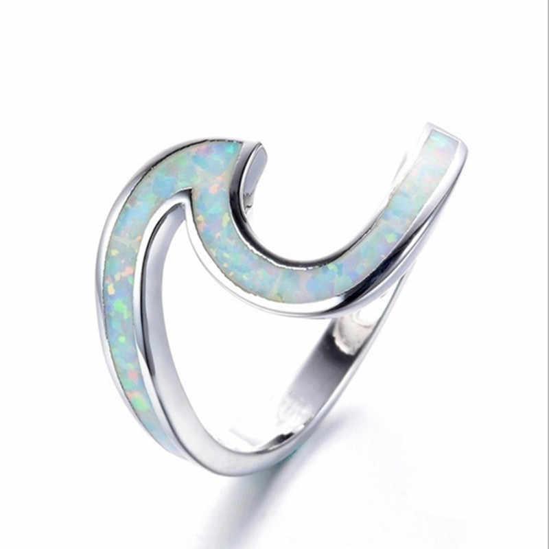 FDLK mode vague conception océan bleu feu opale pierre blanche mariage personnalité bague avec breloque bague en cuivre cadeau d'anniversaire femme