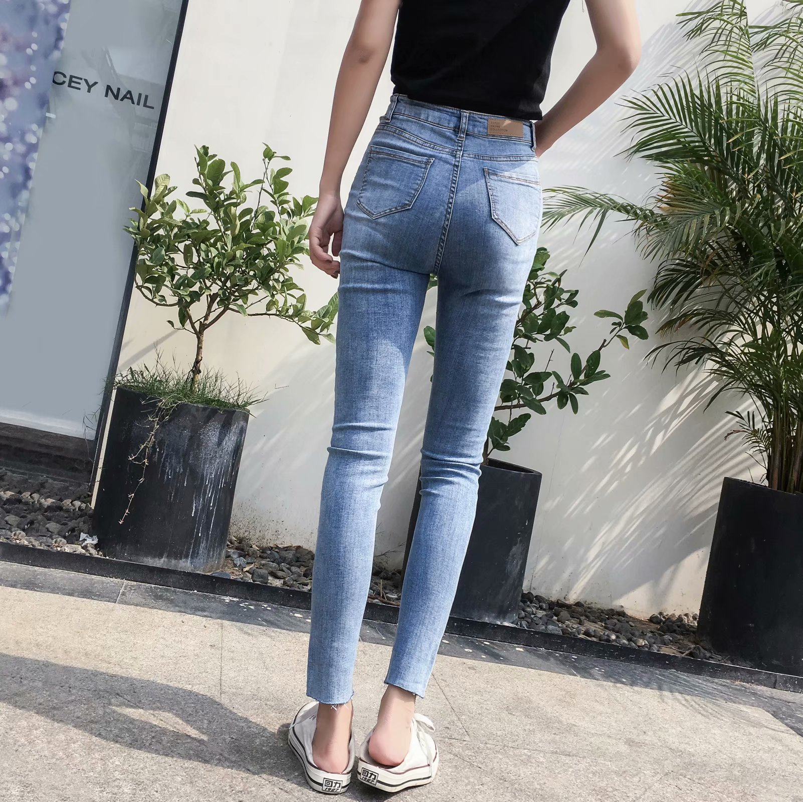 Autumn And Winter New Style Europe And America WOMEN'S Dress-Style Washing Waist Hollow Out Elasticity Jeans Trousers K2132