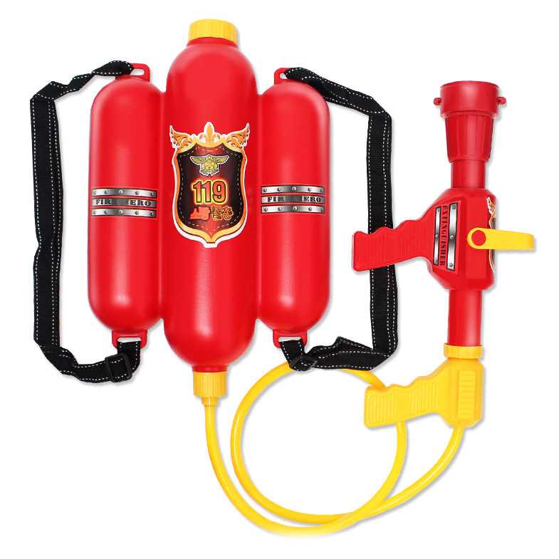 Water Gun Backpack Fire Gun Toy Fire Hat Clothes Set Assembly Stage Performance Projects Toy