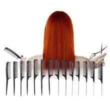 1 قطعة جديد المهنية الأسود الصلب الكربون مشط تقسيم الشعر مقاومة للحرارة صالون الشعر المتقلب فرش دبوس معدني الذيل الاستاتيكيه مشط