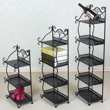 Półka łazienkowa kutego żelaza wielofunkcyjny mały stojak na buty półka na książki wielowarstwowy kreatywny składany mini stojak
