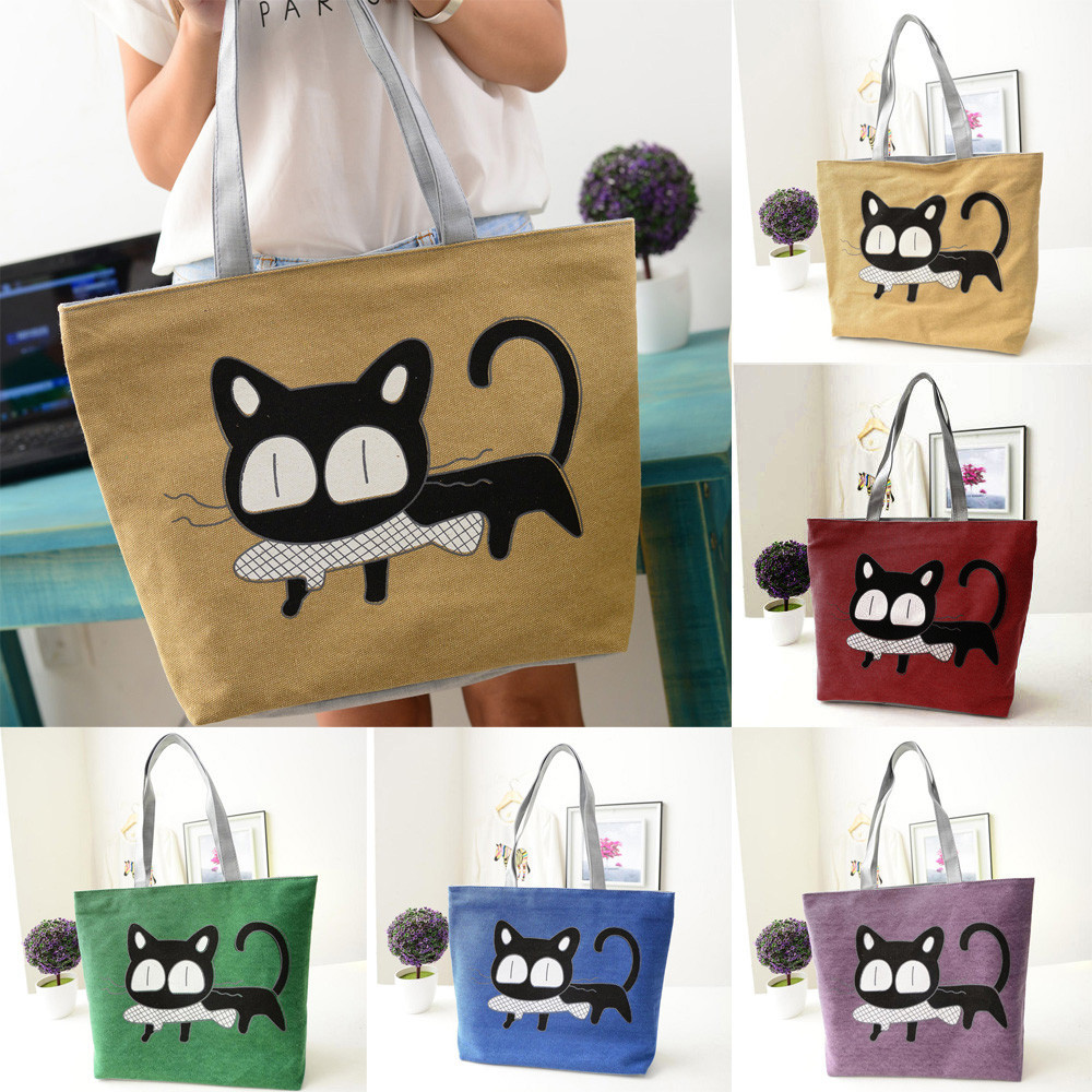 2020 Women Cute Cat Tote Bags Ladies Fashion Leisure Canvas Shopping Handbag Multifunctional Single Shoulder Capacity Bag#F