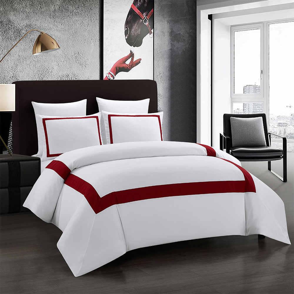 Yimeis ベッドリネンセット幾何寝具セットステッチ布団寝具ダブルベッド高級 BE45005