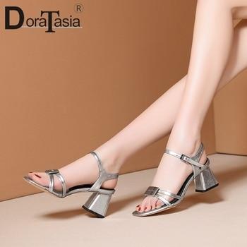 DORATASIA Genuine Leather Female Sandals 2020 Summer Classic Sandals Women Open Toe Metal High Heels Pvc Shoes Woman