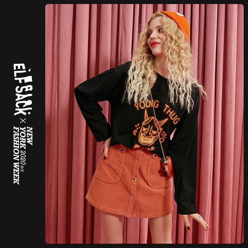ELFSACK Black Letter Print Women T Shirt Women Tops 2019 Halloween Oversize Female Streetwear Casual Ladies Tee Shirts