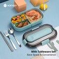 WORTHBUY Japanische Lunchbox Für Kinder Mikrowelle Kunststoff Lebensmittel Behälter Mit Fach Geschirr Dicht Bento Box Lebensmittel Box
