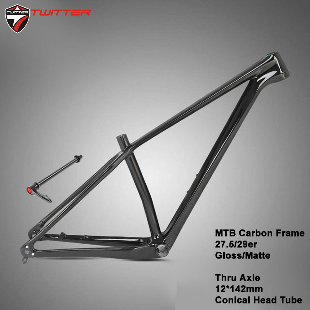 MTB XC M5 Matte Gloss Black T900 Carbon Bike Frame 27.5 29er Thru Axle 12x142 QR 100x135 Disc Brake Mounting Bicycle title=