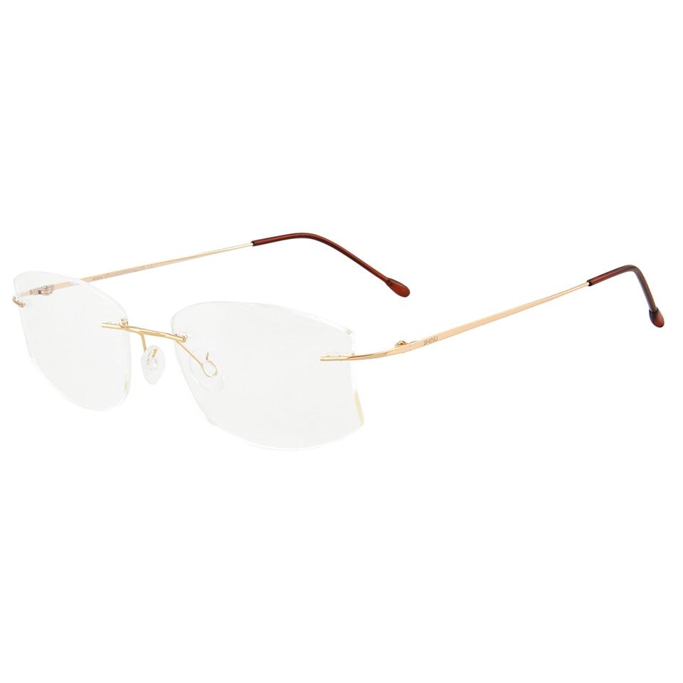 SHINU Rimless Titanium MR-7 Optical Frame Blue Light Blocking Nearsighted Glasses-T1025