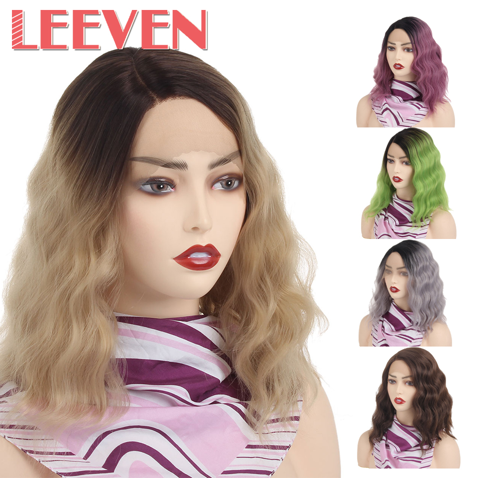 Leeven 14inch Synthetic Lace Front Wig Short Wavy Bob Wigs For Woman Green Gray Brown Purple Cosplay Hair Side Part