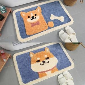 Image 3 - Cartoon animal dog Door mat Akita and Kirky carpet soft mats cute Home bathroom Balcony doorway mat absorbent Non slip gift