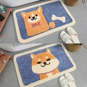 Image 3 - 漫画の動物の犬ドアマット秋田とkirkyカーペットソフトマットかわいいホーム浴室バルコニー戸口マット吸収ノンスリップギフト