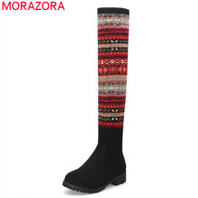 Morazora 2020 新到着腿の高女性ラウンドトウプリント秋ストレッチブーツファッションスクエアハイヒールカジュアルシューズ女性