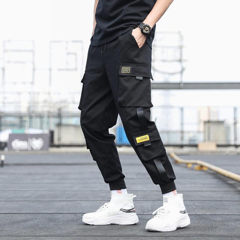Hip Hop Men Black Joggers Pants Summer 2020 Mens Big Pockets Ankel Cargo Pants Male Spring Streetwear Overalls Sweatpants M-3XL