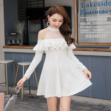 Black Off Shoulder Dress Long Sleeve S-XXL Vintage Mesh Ruffle Mini White Women Autumn Red Sweet Elegant Sexy Robe Femme