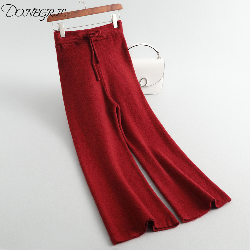 2019 New   Pants   Women's Autumn-Winter Knitted   Wide     leg     pants   low waist Euramerican fashionable elegant   pants   with belt