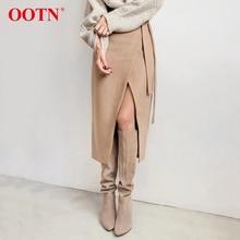 OOTN хаки замша длинная юбка Женская Осень Зима Повседневная юбка с запахом на шнуровке Женская миди-юбка с высокой талией Офисная женская элегантная