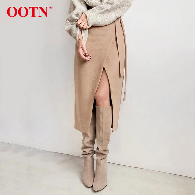 Khaki Suede Long Casual Wrap Lace Up High Waist Skirt Office