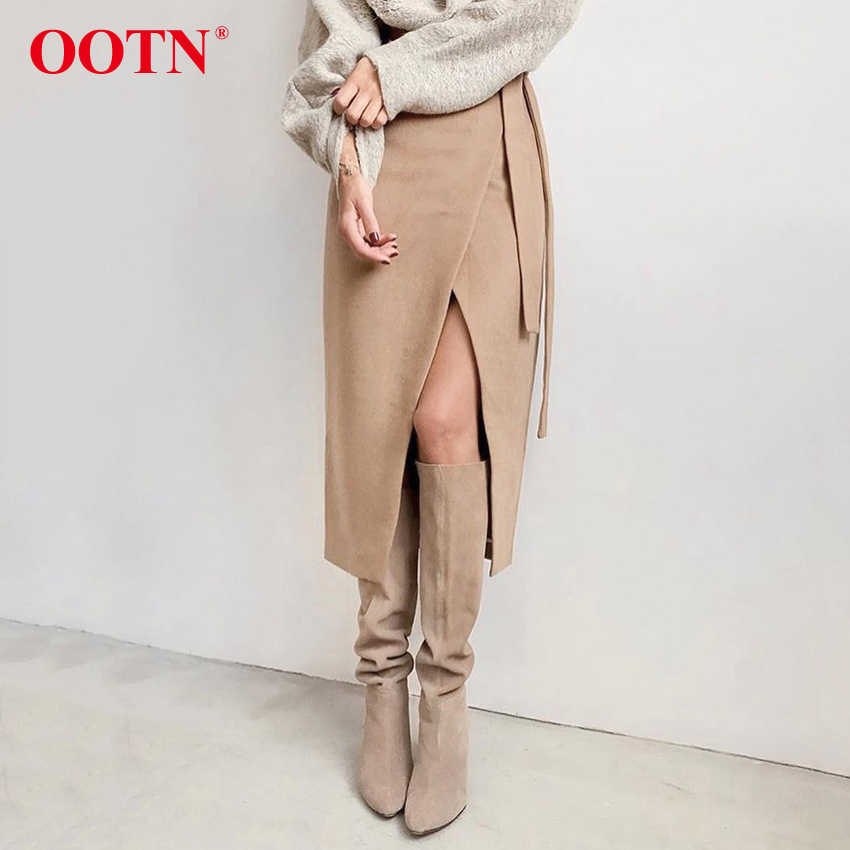 OOTN Khaki Wildleder Langen Rock Frauen Herbst Winter Casual Wrap Rock Lace Up Frauen Hohe Taille Midi Rock Büro Damen elegante 2019