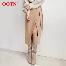 OOTN Khaki Suede Long Skirt Women Autumn Winter Casual Wrap Skirt Lace Up Women High Waist Midi Skirt Office Ladies Elegant 2019 cheap Polyester Straight BSQ3113 empire Solid Office Lady Mid-Calf 0814 Fall Summer Autumn Winter Wrap Skirts Streetwear Casual Office
