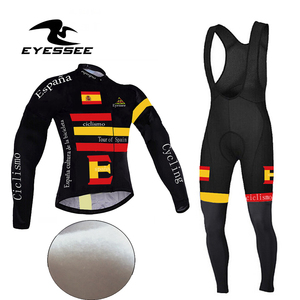 winter thermal long sleeve cycling clothing Tour de Spain fleece bicycle clothing Eyessee Team Edition fleece bicycle clothes