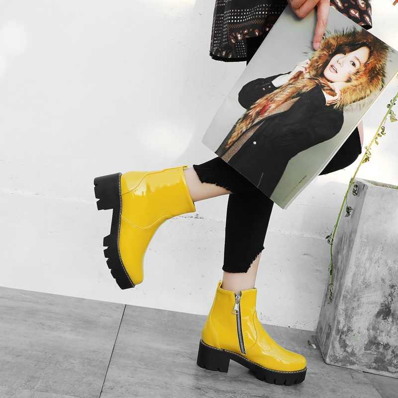 EGONERY punk plattform stiefel mode lila gelb schwarz Patent leder stiefeletten 5,5 cm mid heels frauen schuhe 32-43CN