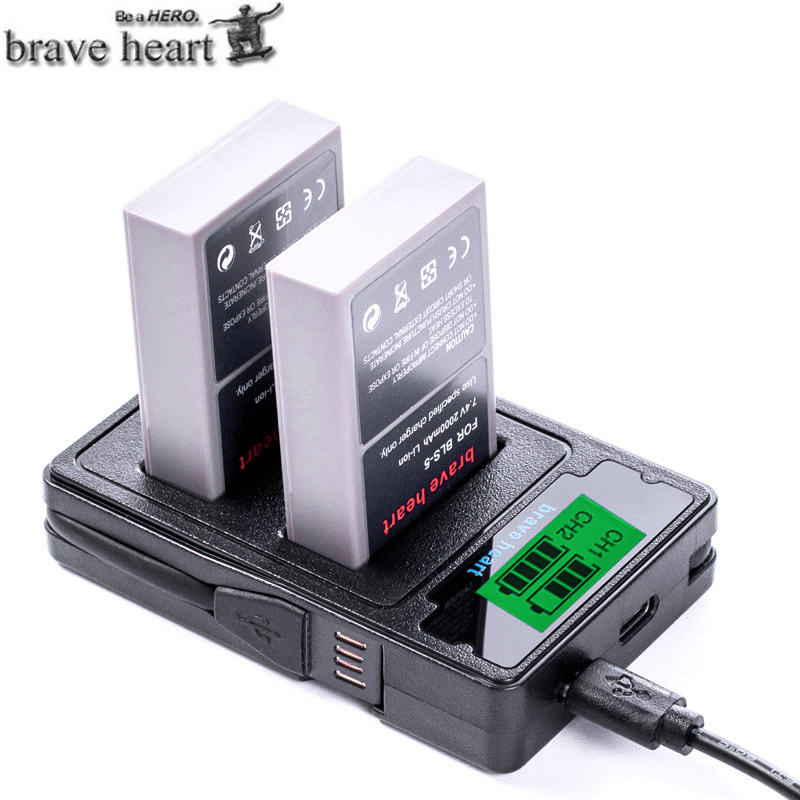 TYPE-C DUAL Charger + Bls-50 BLS-5 BLS5 Bls50 Battery For Olympus OM-D E-M10,Mark III,Mark II,PEN E-PL2,E-PL6,E-PM2, Stylus 1