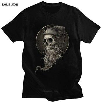 Camiseta Winya n. ° 99 de algodón puro con barba de calavera para hombre, camiseta de Berserker Vikingo, camiseta gótica de manga corta horrorosa, ropa ajustada