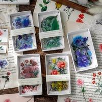 40 PCS PET Transparent Rose Blume Geformt Floral Anlage Aufkleber für DIY Handwerk Planer Notebook Kalender
