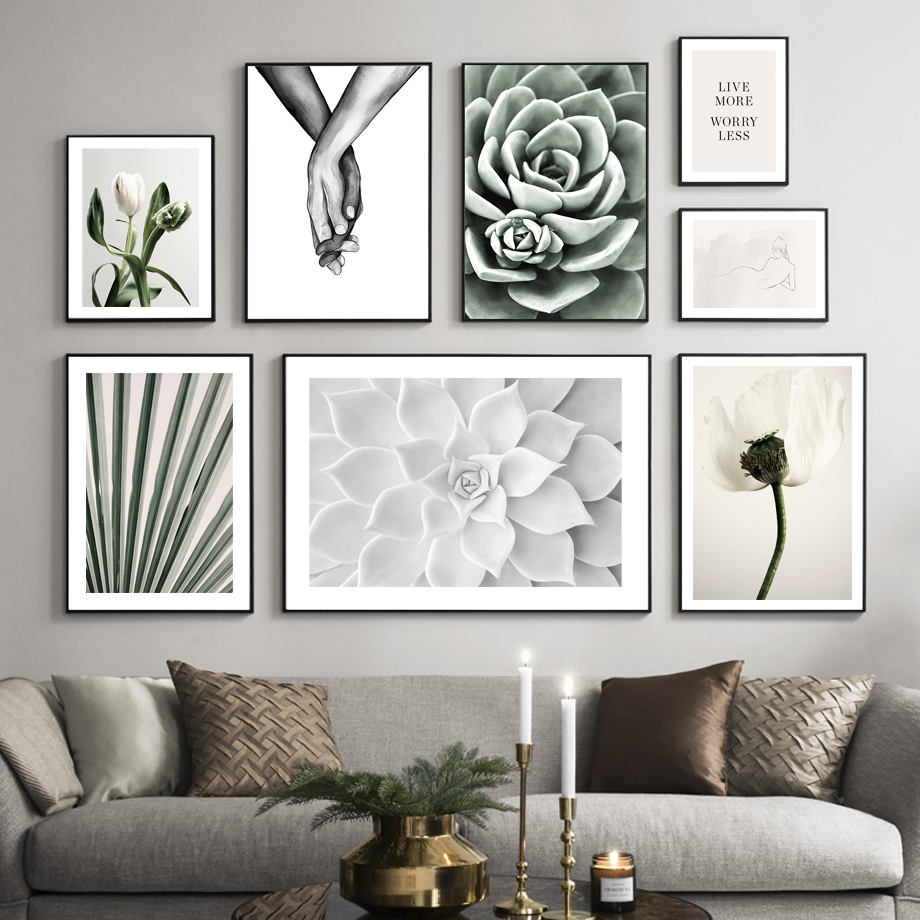 Tulips Cactus Succulent Palm Leaf Holding Hands Nordic Poster Wall Art Print Canvas Painting Decoration Pictures For Living Room