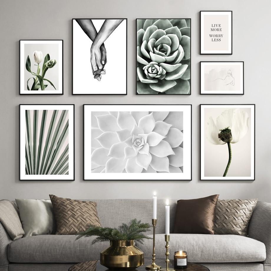 Тюльпаны кактус суккулент пальмовый лист держа руки скандинавский плакат настенная Художественная печать Картина на холсте, украшение на ...