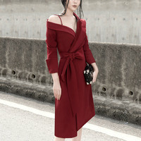 Korea 2020 Spring Autumn New Pattern Asymmetrical Long Sleeve Chalaza Waist Woman Chic Temperament Strapless Dress R105