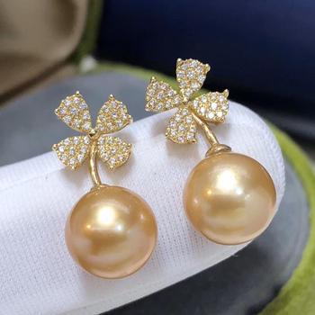 Fine Jewelry 1103 Pure 18 K Gold Natural Ocean Golden Pearls 8-9mm Stud Earrings for Women Fine Pearl Earrings 1