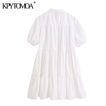 KPYTOMOA Women 2020 Sweet Fashion Ruffled White Mini Dress Vintage Lapel Collar Puff Sleeve Female Dresses Chic Vestidos Mujer 2