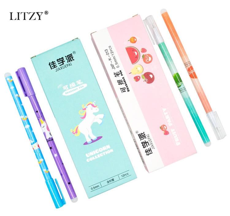 Купить с кэшбэком 2+10pcs/Set Cute Unicorn Gel Pen Erasable Pen 0.55mm Blue Black Ink Magic Refill Exam Office kawaii School Supplies Stationery