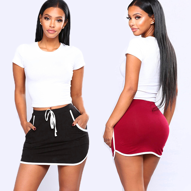 Summer Women Joggers Fitness Skirt With Pockets New Ladies Sexy Skirt White Sides Sweatpants High Elastic Waist Short Skirts