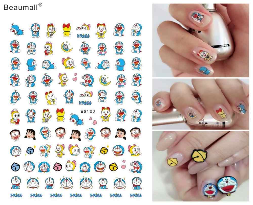 Cartoon Type Nails Art Manicure Back Glue Decal Decorations Nail Sticker For Nails Tips Beauty