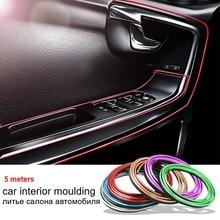 Car Interior Chrome Trim Carbon Fiber Decoration Strip Instrument Panel Door Gap Decorative Bright Bar Auto Moulding Accessories
