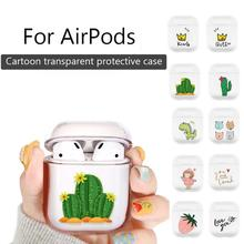 Transparent Cute Cartoon Pattern Plastic Wireless Bluetooth Earphone Earbuds Hard Protective Case Cover For AirPods Protection стоимость