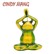 CINDY XIANG 2 Colors Choose Enamel Pray Frog Brooch Cute Animal Design Pin Brooches Unisex Women And Men Jewelry Kids Badges