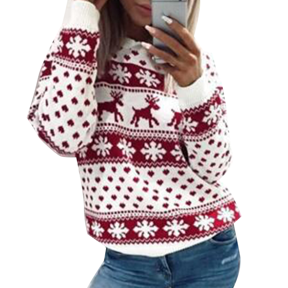 Winter Womens Christmas Elk Snow Sweater Print Long Sleeve Pullover Blouse Top Christmas Cosplay Womens Turtleneck