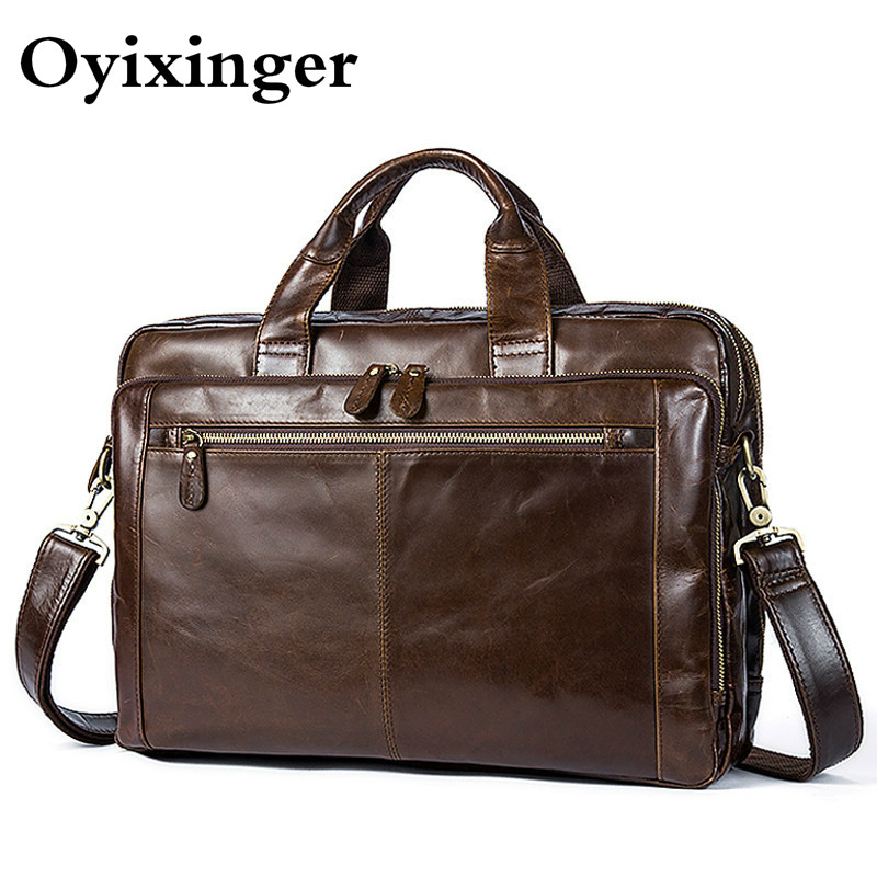 OYIXINGER Men Briefcases Men's Bags Messenger Male Genuine Leather Laptop Bags For Macbook Office Bag 14