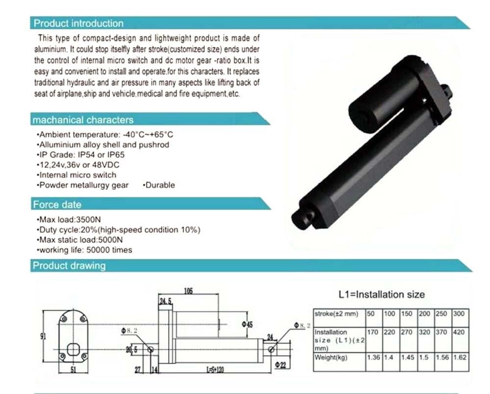 Atuador linear resistente ajustável do curso 500n-3500n