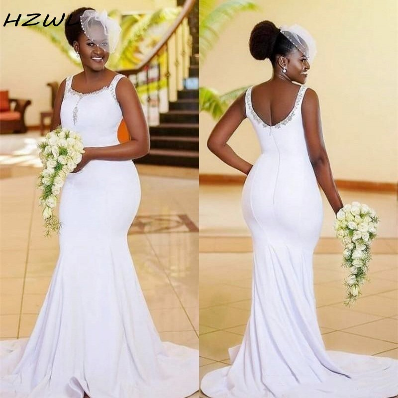 African Mermaid Bridesmaid Dresses Scoop Beads Sequins Plus Size Wedding Guest Dress Zipper Back Satin Maid Of The Honor Gowns
