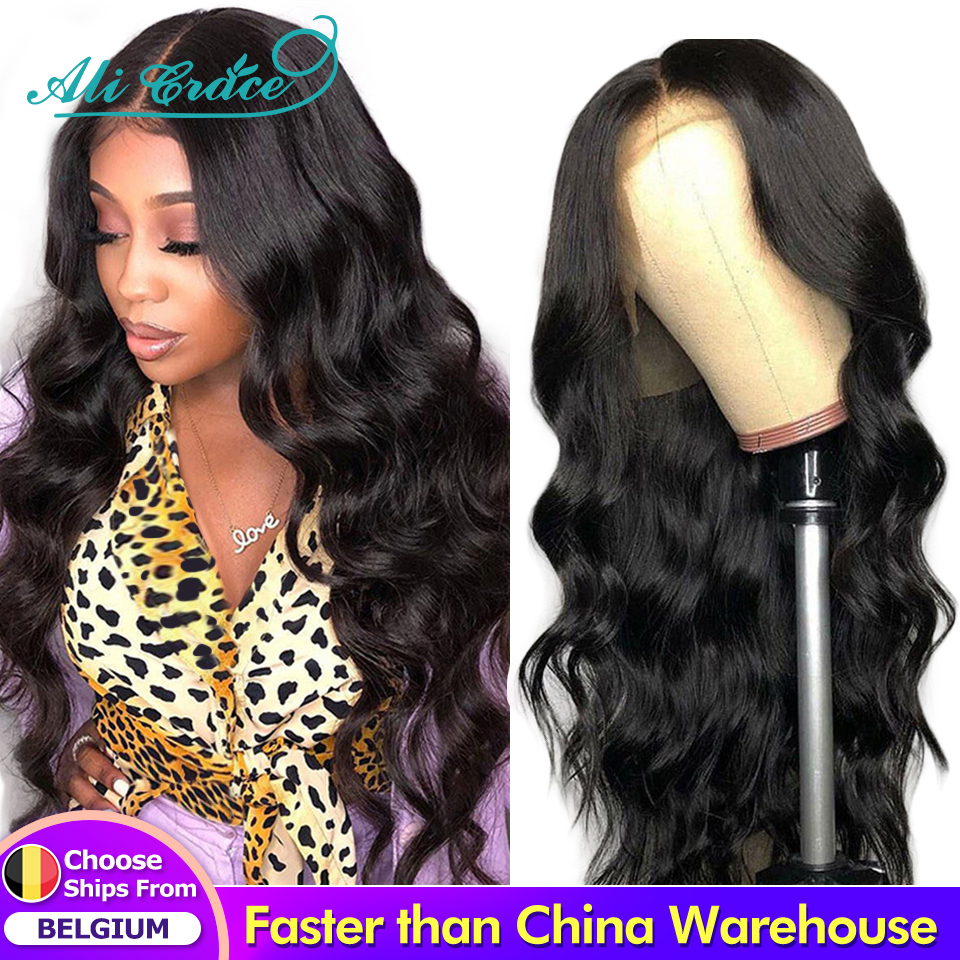 Ali Grace волнистый парик с кружевной передней частью натуральные волосы волнистые человеческие волосы парики бразильские предварительно выщ...