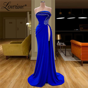 Image 1 - 로브 드 soiree strapless 파티 드레스 결혼식을위한 여성 이브닝 가운 aibye couture 긴 로얄 블루 긴 섹시 댄스 파티 드레스 2020